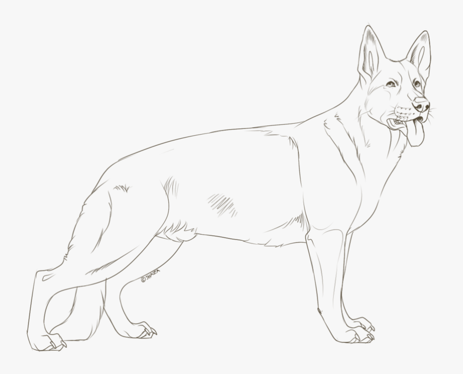 German Shepherd Brown Coloring Page, Printable German - Line Art , Free  Transparent Clipart - ClipartKey