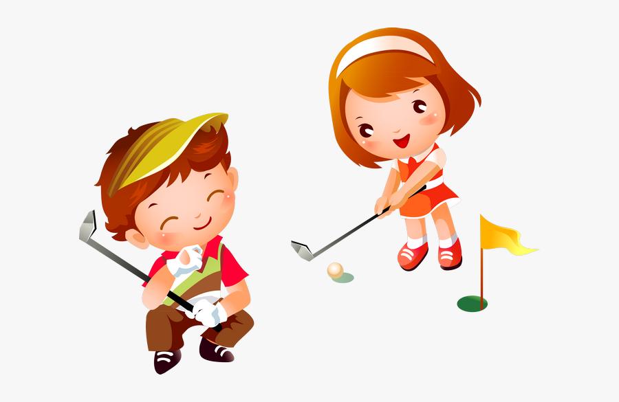 Girl Playing Golf Cartoon, Transparent Clipart