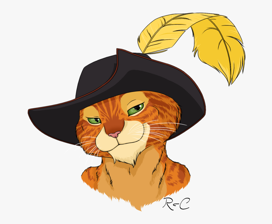 Art,small To Medium-sized Cats,headgear,witch Hat,costume - Shrek Puss In Boots Draw, Transparent Clipart