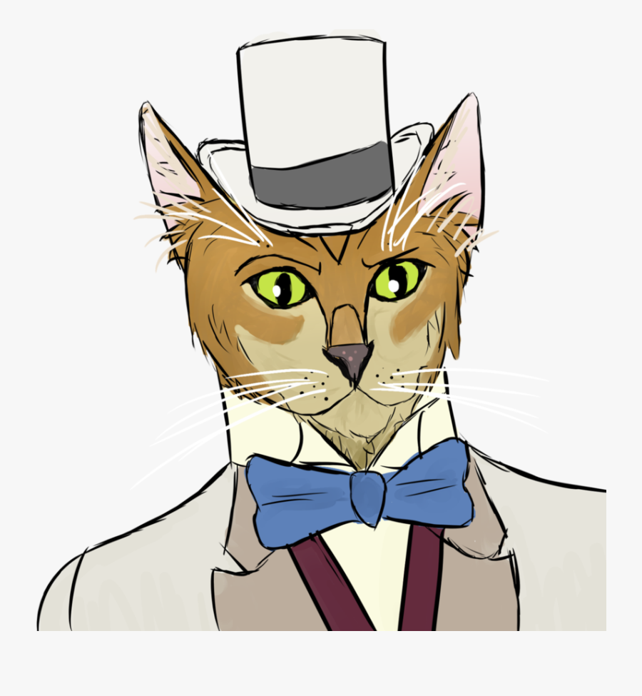 Tie Clipart Cat In Hat - Domestic Short-haired Cat, Transparent Clipart