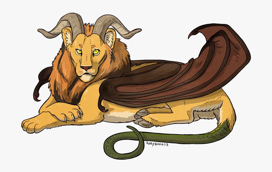 Transparent Lion Transparent Png - Lion With Goat Horns, Transparent Clipart