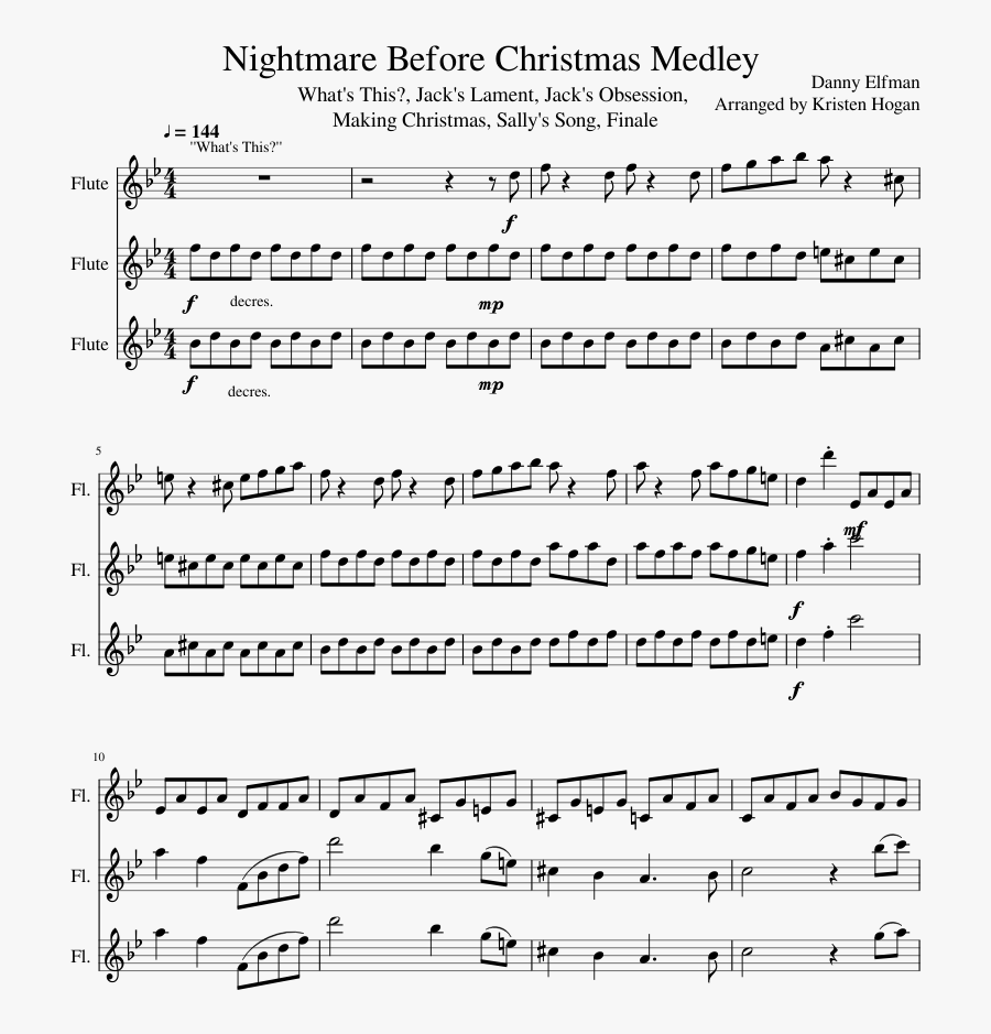 Nightmare Before Christmas Medley Sheet Music Composed - Spootiskerry Fiddle Sheet Music, Transparent Clipart