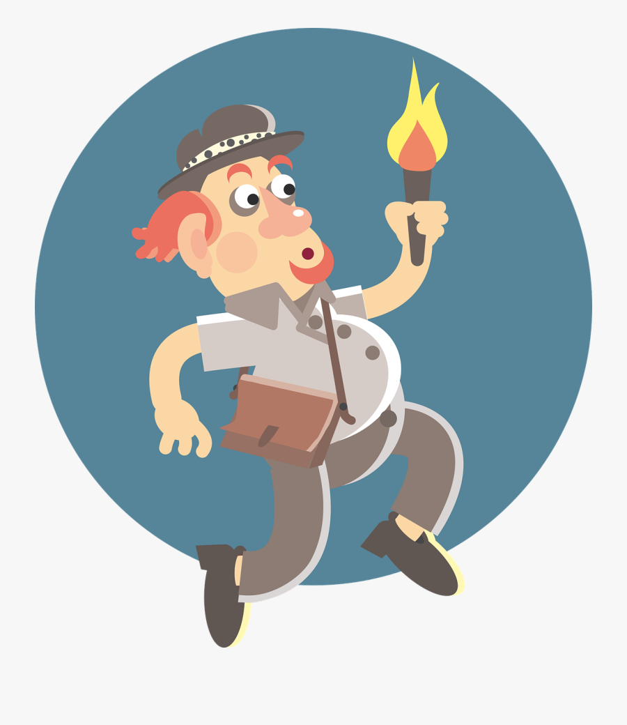 Transparent Torch Vector Png - Explorer Man, Transparent Clipart