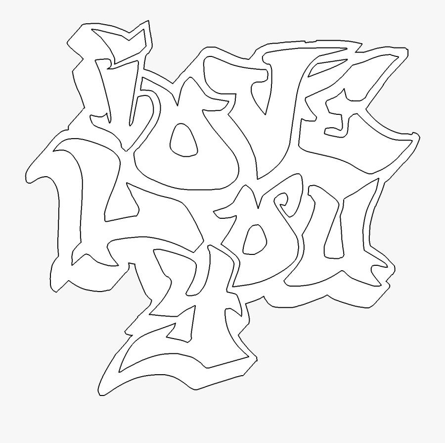28 Collection Of I Love You Graffiti Coloring Pages - Graffiti I Love You, Transparent Clipart