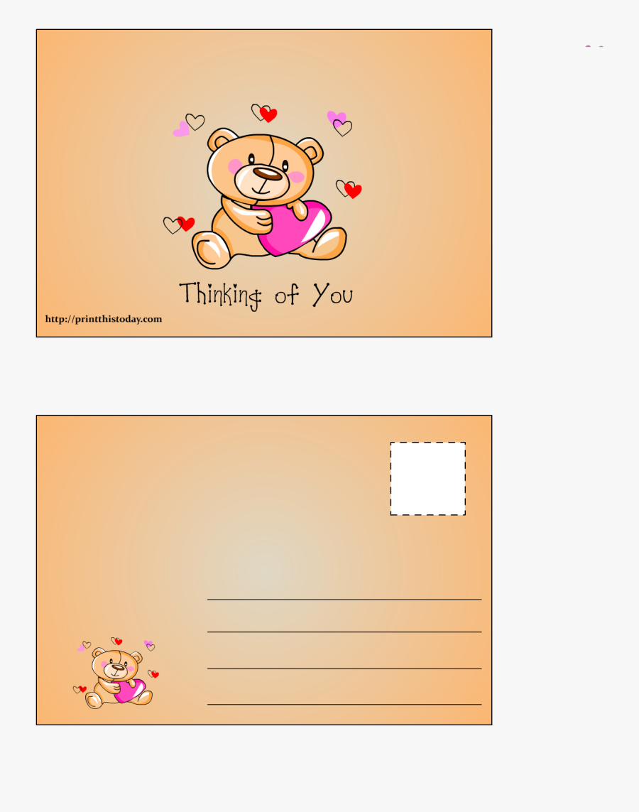 Thinking Of You Postcard - Cartoon, Transparent Clipart