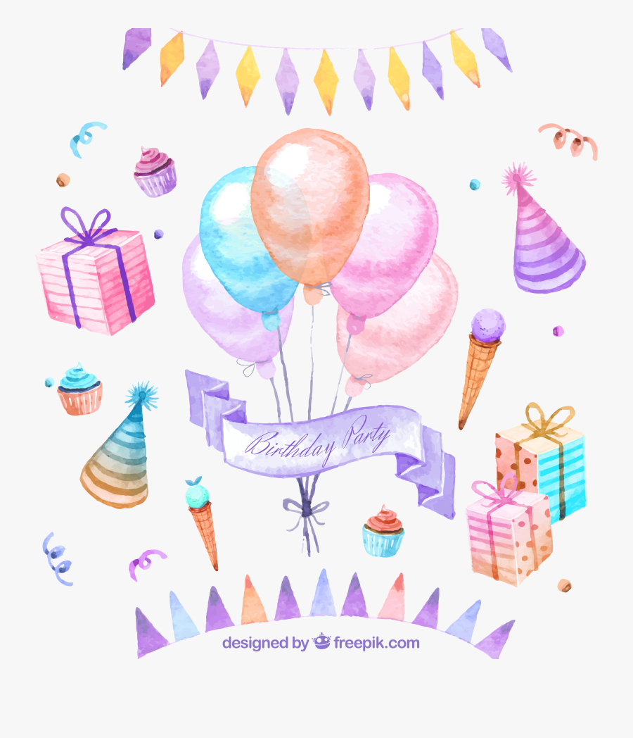 Drawing Party Food - Birthday Card Draw Balloon Cake, Transparent Clipart