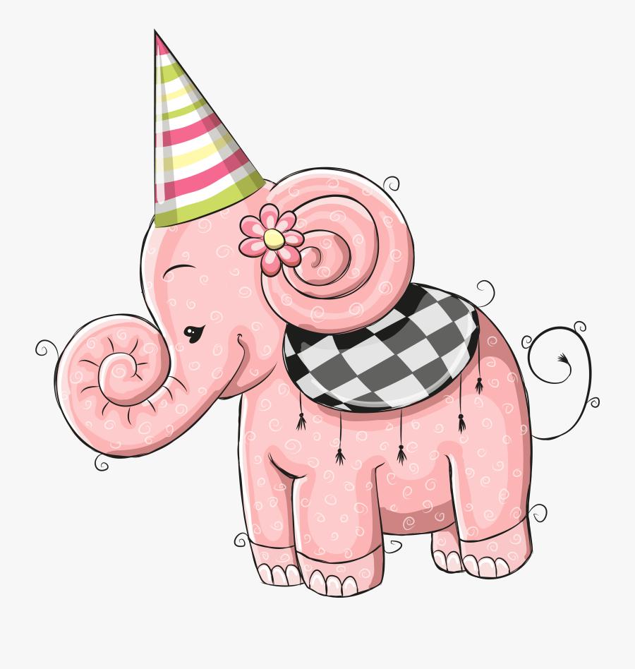 Elephants Clipart Birthday - Happy Birthday Cartoon Elephant, Transparent Clipart