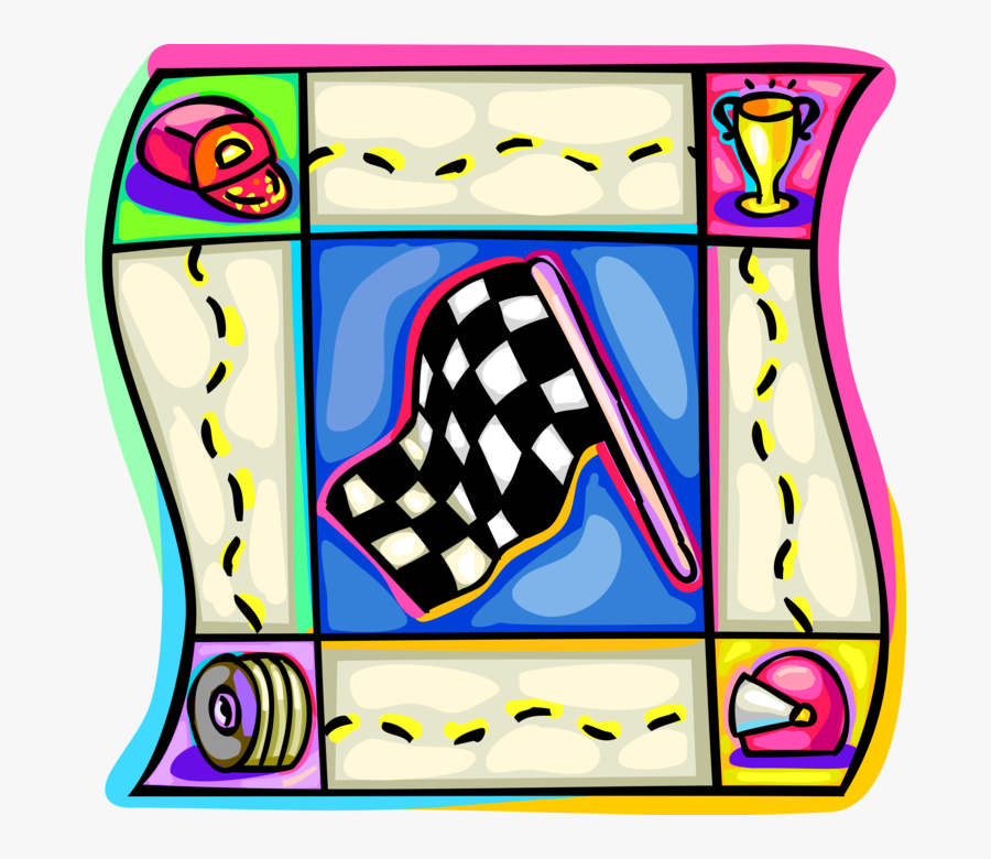 Vector Illustration Of Checkered Or Chequered Flag, Transparent Clipart