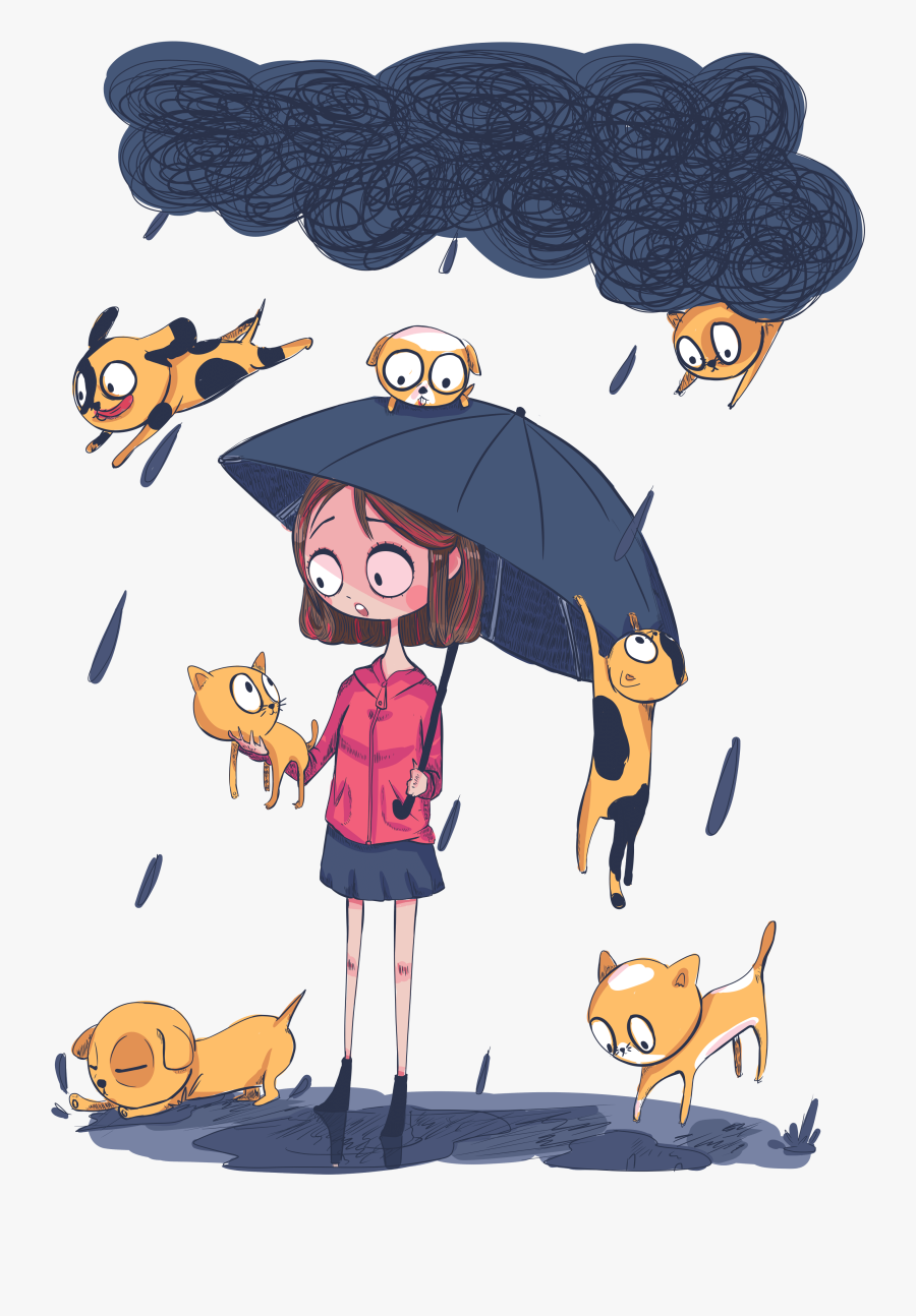 Raining Cats And Dogs Illustration, Transparent Clipart