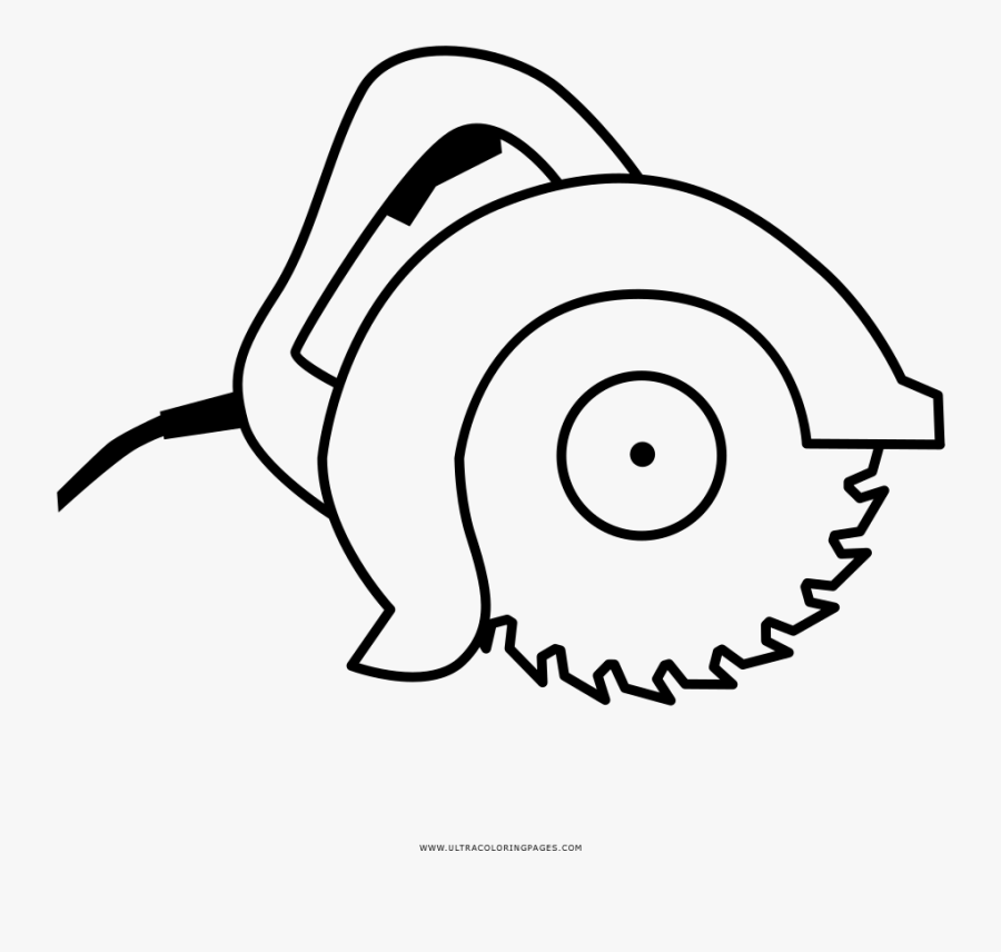 Circular Saw Coloring Page, Transparent Clipart