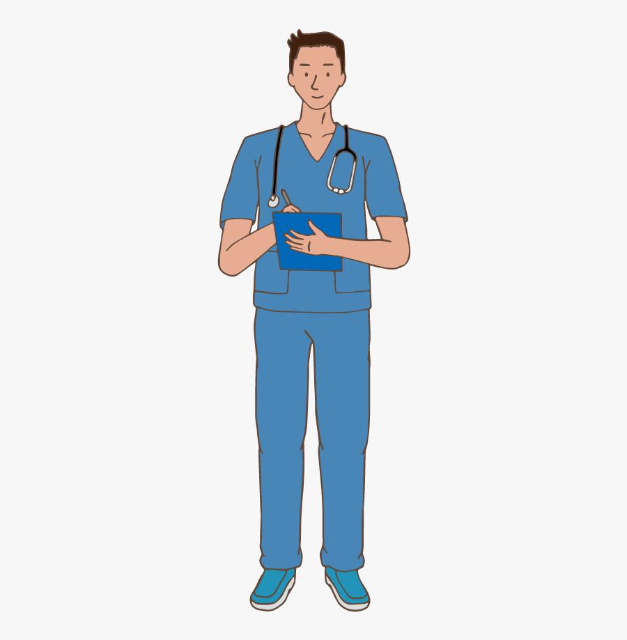Male Nurse - Standing, Transparent Clipart