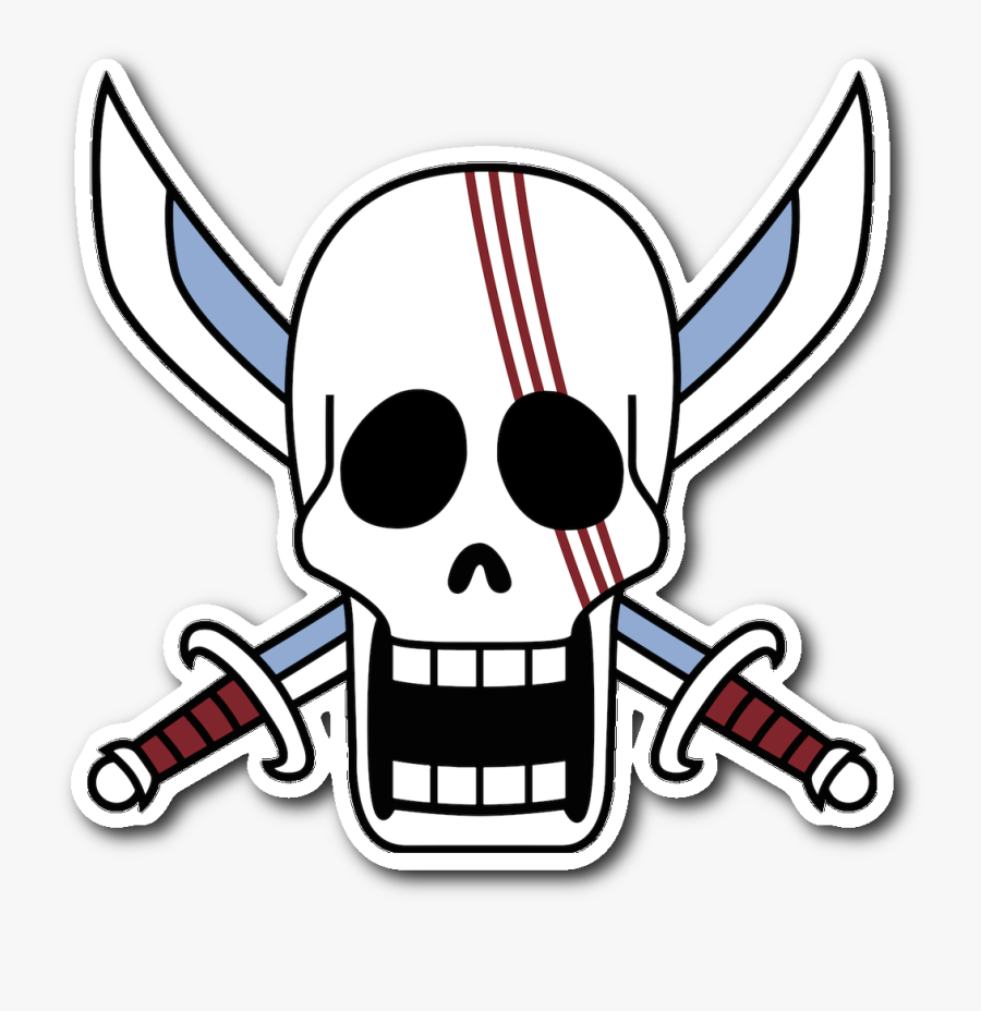 Red Hair Pirates Jolly Roger Sticker - Red Hair Pirate Flag, Transparent Clipart