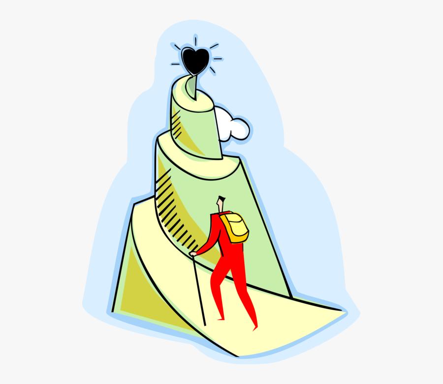 Vector Illustration Of Businessman Climbing Mountain - Mountain Climbing Art Png, Transparent Clipart