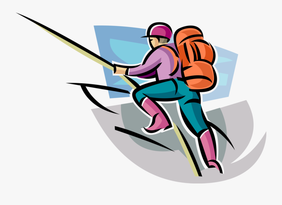Vector Illustration Of Mountain Climber Climbs Steep - Cartoon Mountaineer, Transparent Clipart