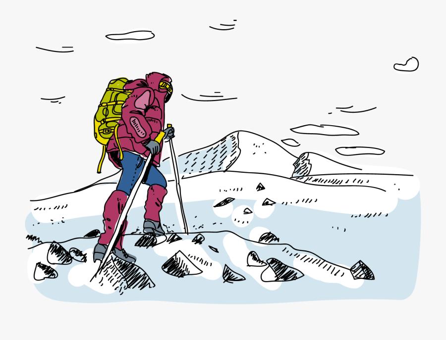 Mountaineering Outdoor Recreation Climbing Silhouette - Snow Mountain Climbing Cartoon, Transparent Clipart