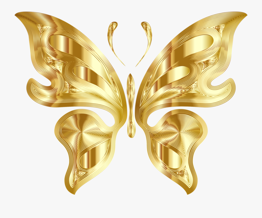 Butterfly,symmetry,gold - Golden Butterfly Transparent Background, Transparent Clipart