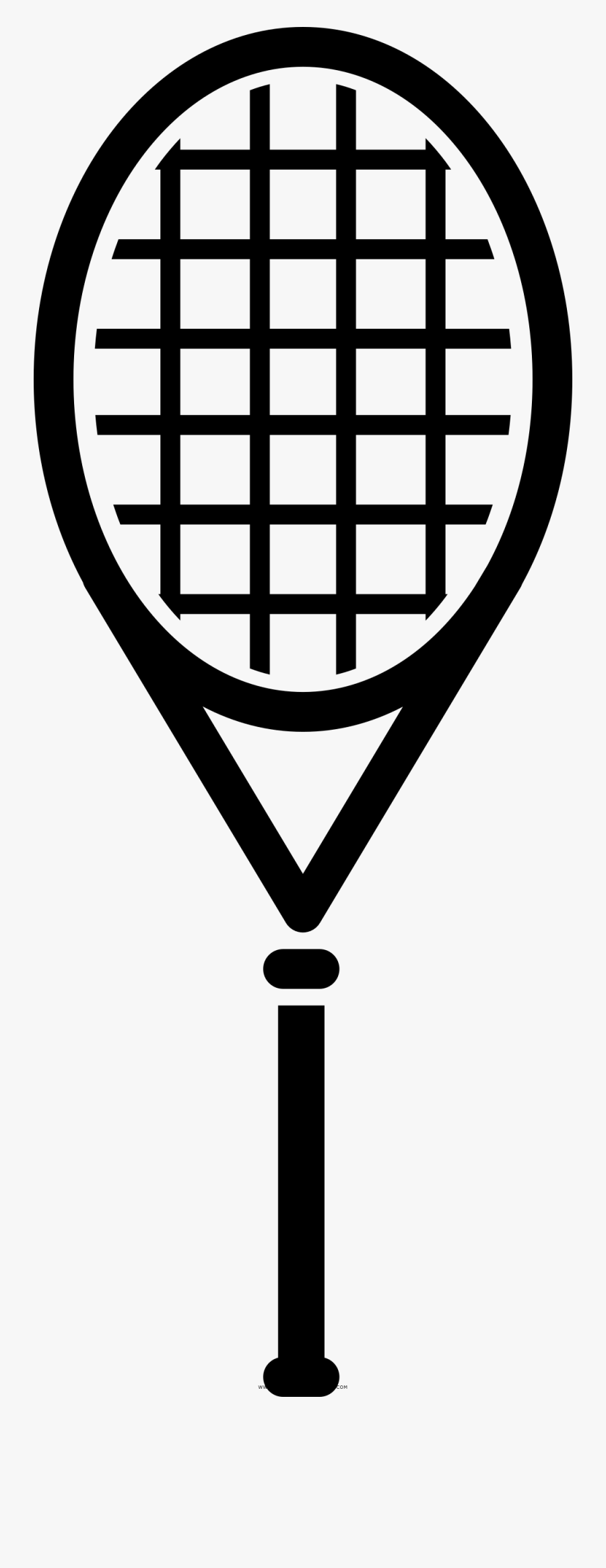 Tennis Racquet Coloring Page - Black And White Tennis Racket Template, Transparent Clipart