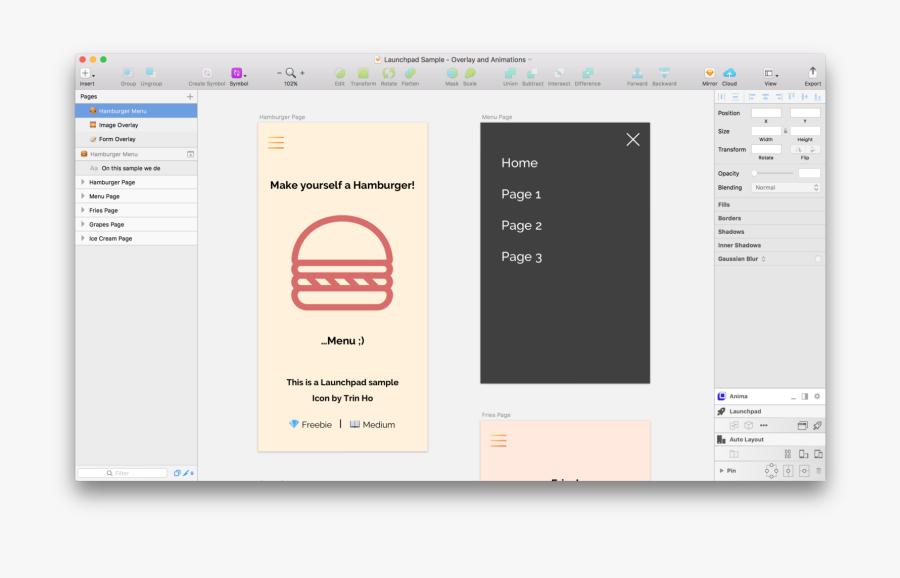 Launchpad Sketch - Full Screen Modal Design, Transparent Clipart