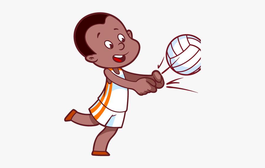Volleyball Clip Cartoon - Cartoon About Children Playing, Transparent Clipart