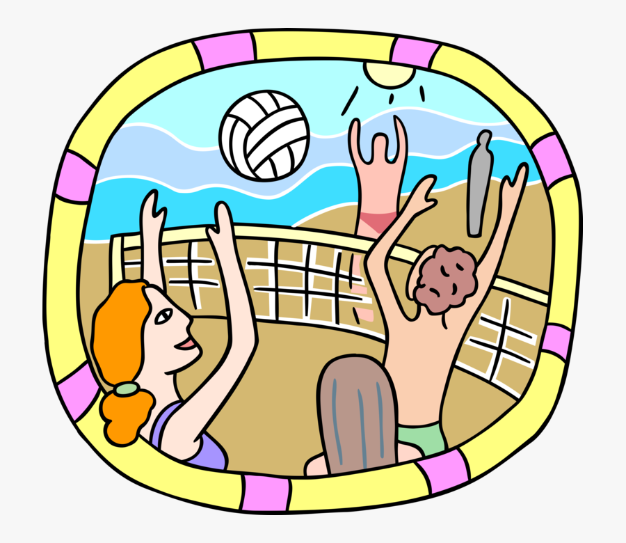 Vector Illustration Of Sport Of Beach Volleyball Players, Transparent Clipart