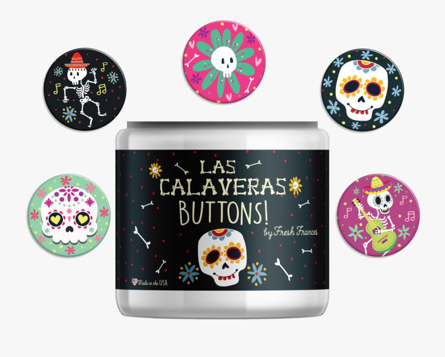 Sugar Skull Button Jar - Skull, Transparent Clipart