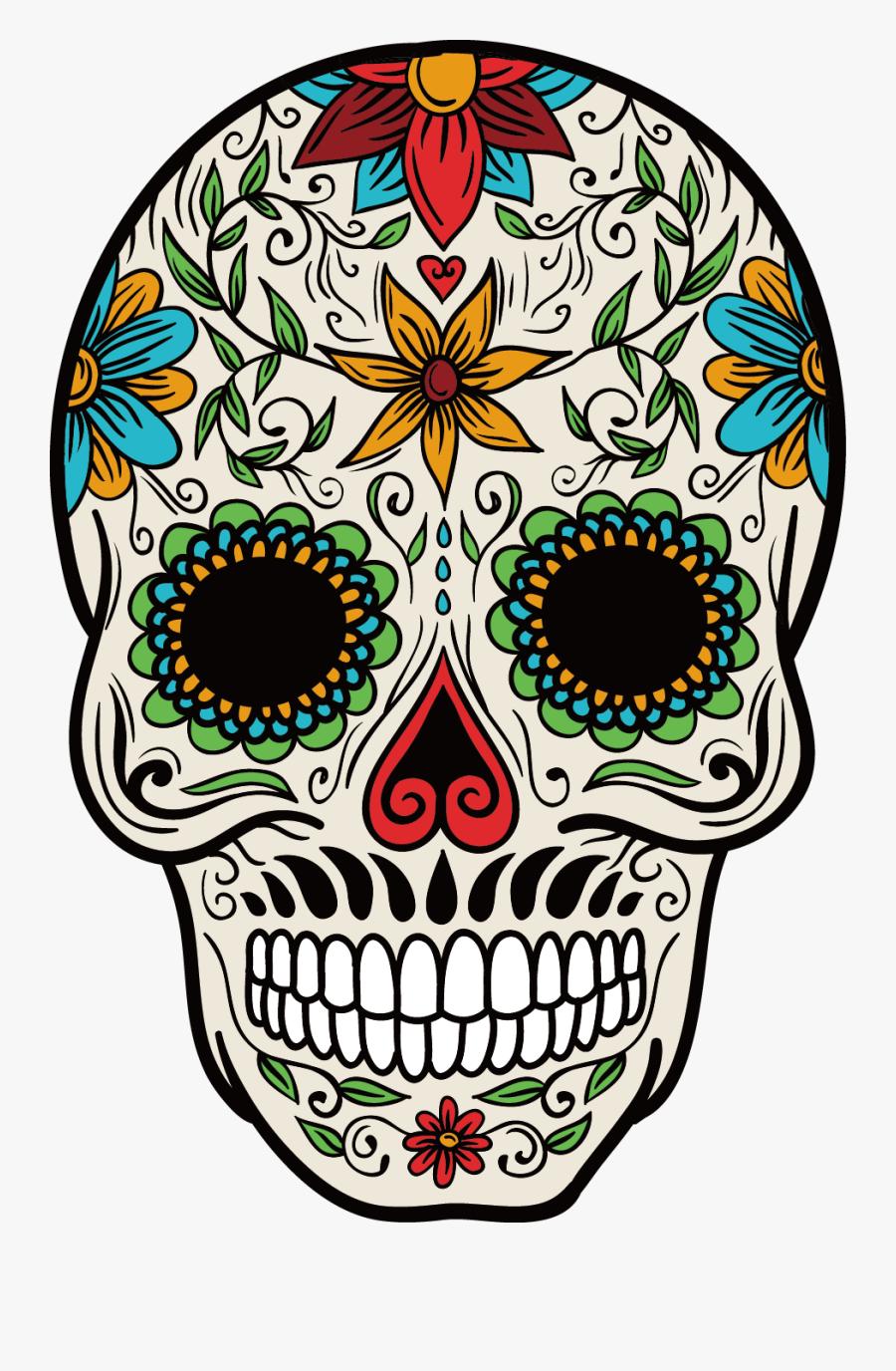 Cuisine Mexican Skull Mexico Color Calavera La Clipart - Calavera Catrina A Color, Transparent Clipart