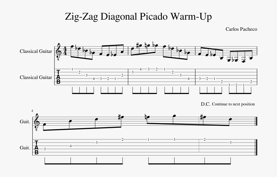 Zig Zag Diagonal Picado Warm Up Sheet Music Composed - Sheet Music, Transparent Clipart
