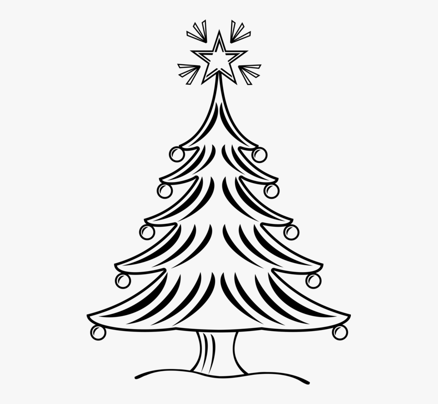 Christmas Tree Drawing Black And White Clip Art Christmas - Xmas Tree Black And White, Transparent Clipart