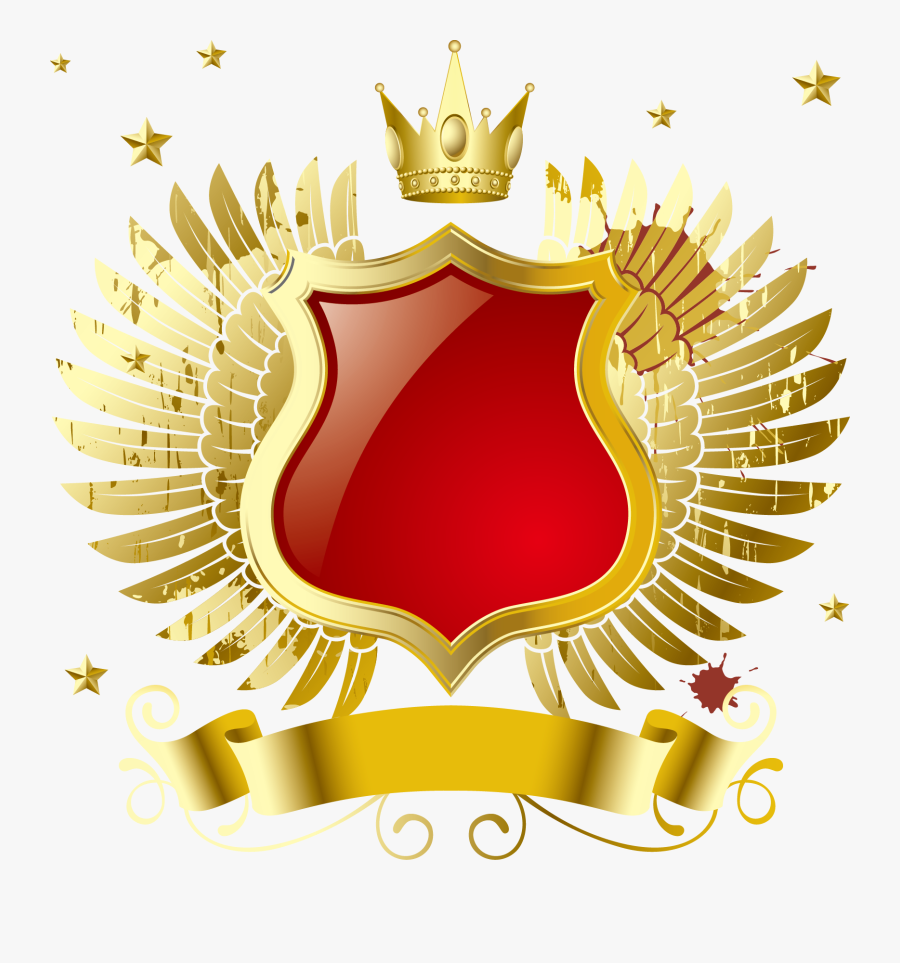 Golden Computer Crown Vector Mp3 File Badge Clipart - Golden Shield With Crown Png, Transparent Clipart