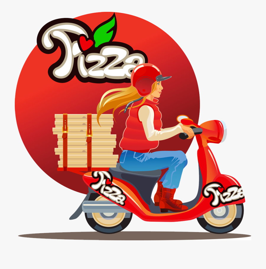 Pizza Motorcycle Beauty - Delivery Blond Girl Scooter, Transparent Clipart