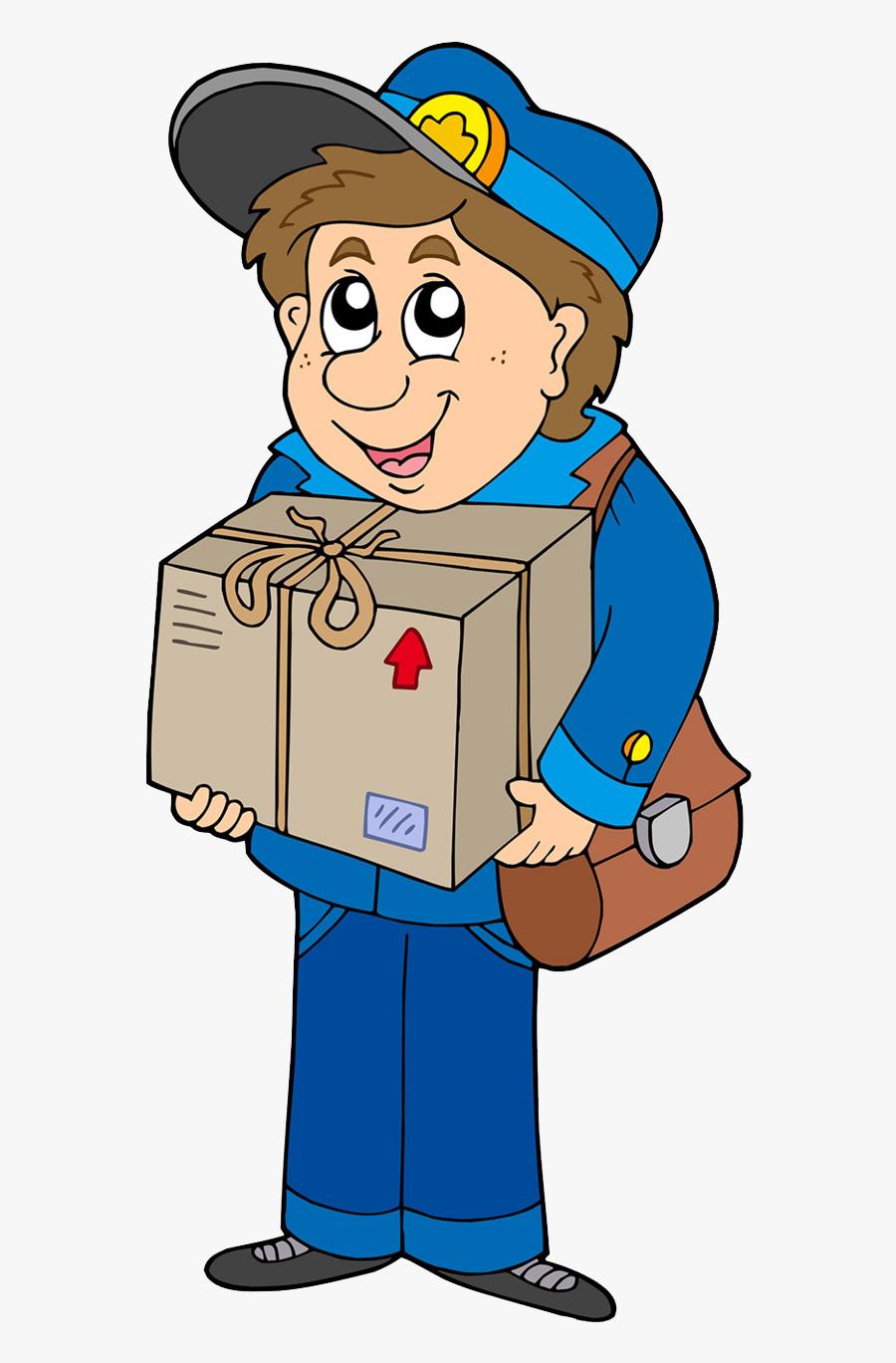 Postman Png Pics - Mailman Delivering A Box, Transparent Clipart