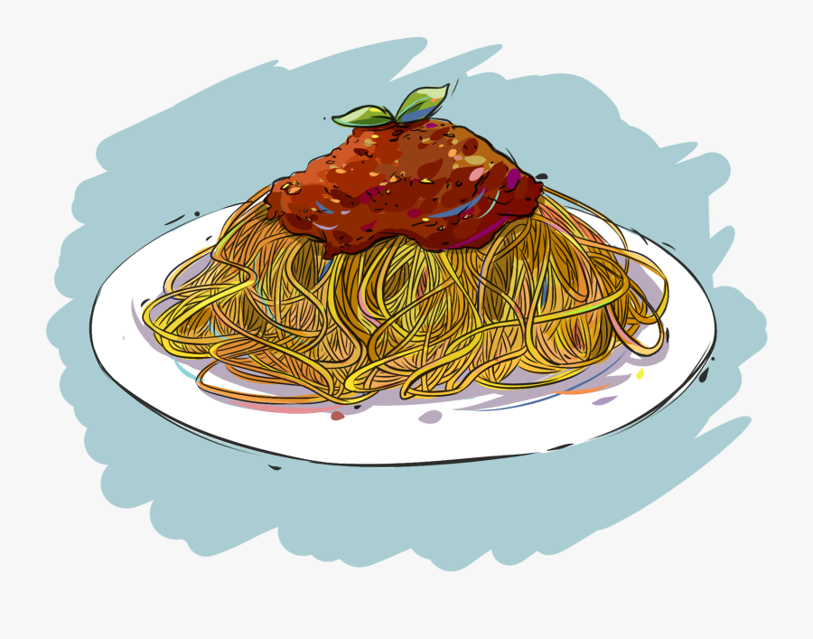 Pasta Bolognese Hand Painted Original Png And Psd - Anime Food Png, Transparent Clipart