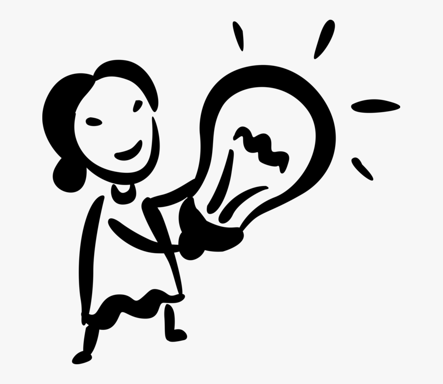 Image Png Bright Ideas Light Bulb Woman - Bright Idea Vector Black And White, Transparent Clipart
