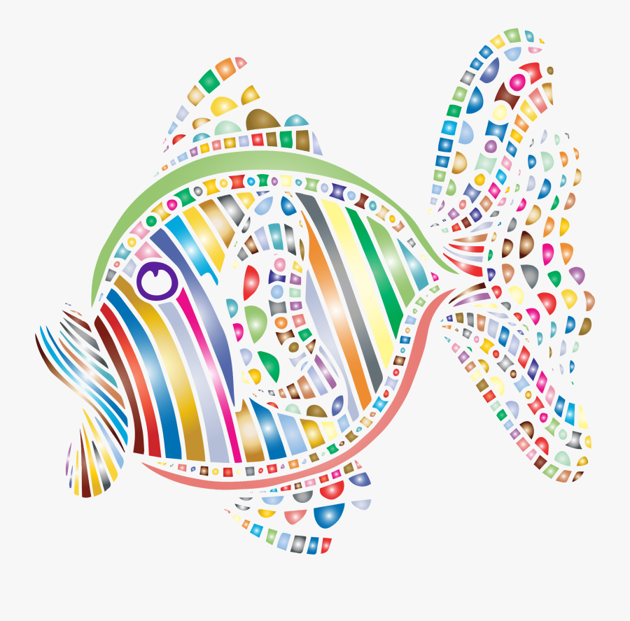 Clipart - - Art Colorful Fish Abstract, Transparent Clipart