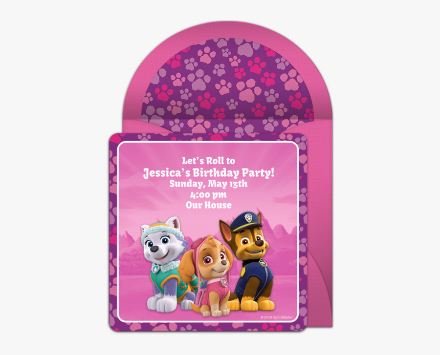 Pink Paw Patrol Invitations, Transparent Clipart