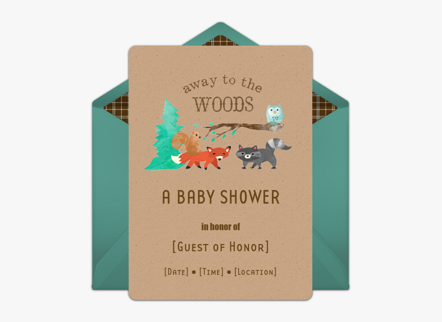 Punchbowl - Com - Online Invitations - Woodland Baby - Baby Shower Woodland Online Invitation, Transparent Clipart