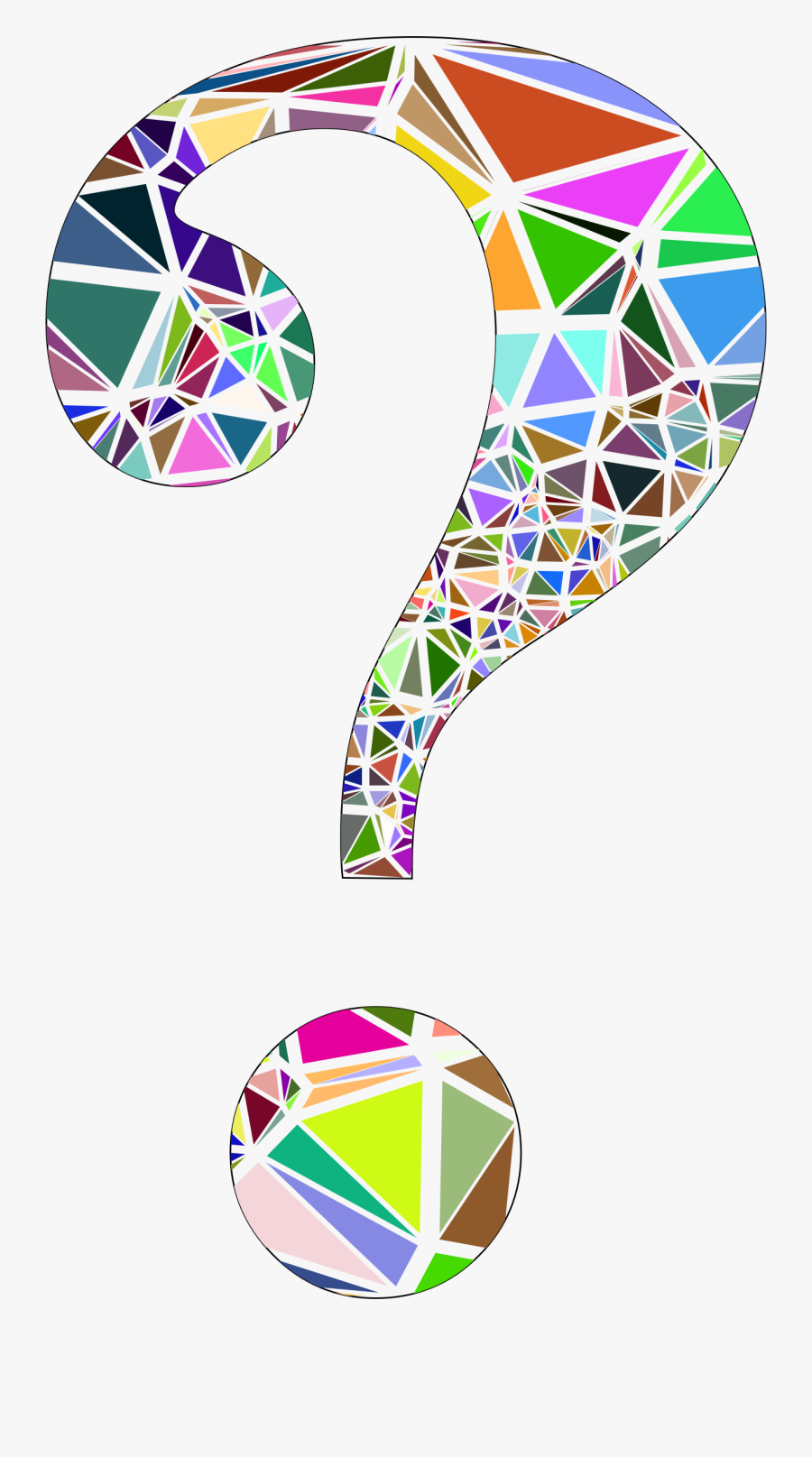 Low Poly Shattered Question Mark With Stroke Clip Arts - Stained Glass Cross Clipart, Transparent Clipart