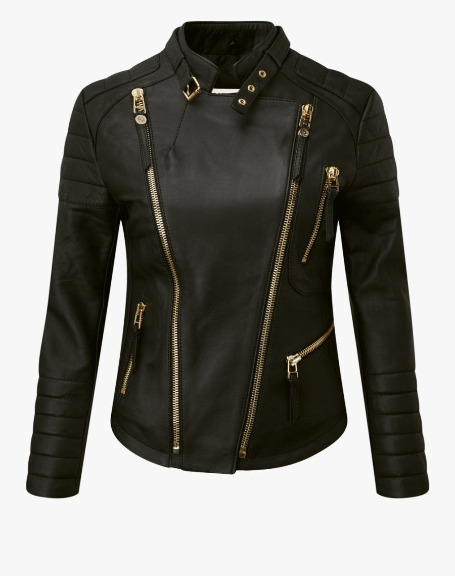 Black Leather Jacket Png Pic - Ladies Leather Jacket Png Hd, Transparent Clipart