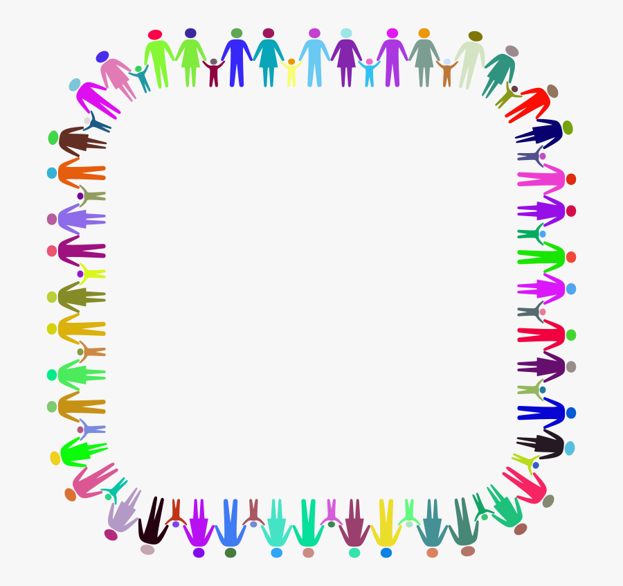 Family Holding Hands Border, Transparent Clipart