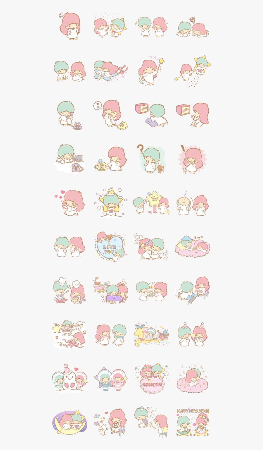 Clip Art Kawaii Planners - Printable Little Twin Stars Stickers, Transparent Clipart