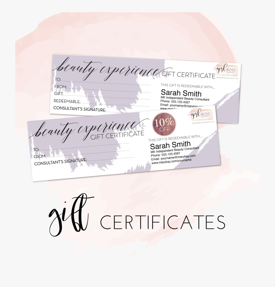 Clip Art Editable Gift Certificate - Mary Kay Beauty Experience Package, Transparent Clipart