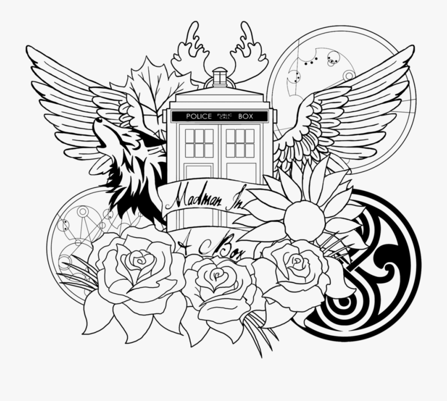 Tardis Coloring Page For My Girls Tardis, Dad - Doctor Who Adult Coloring Pages, Transparent Clipart