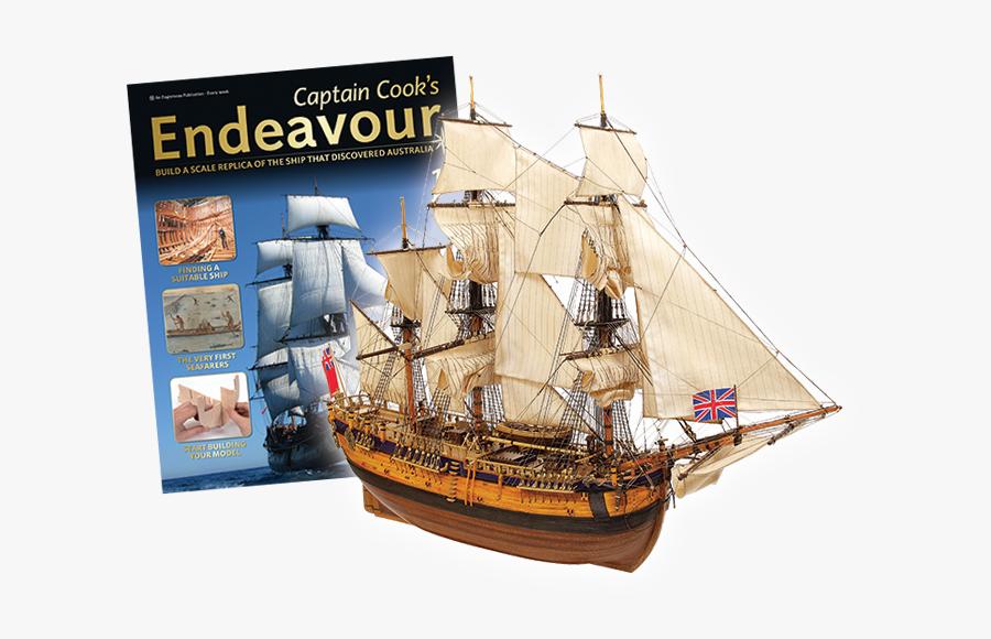 Clip Free Captain Cook S Model - Hms Endeavour, Transparent Clipart