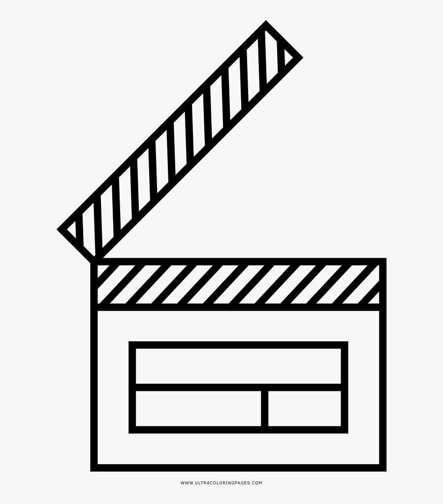 Clapper Board Coloring Page - Line Art, Transparent Clipart