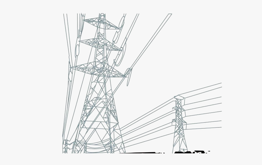 Electric Power Transmission High Voltage Tower Cable - Electrical Transmission Png, Transparent Clipart