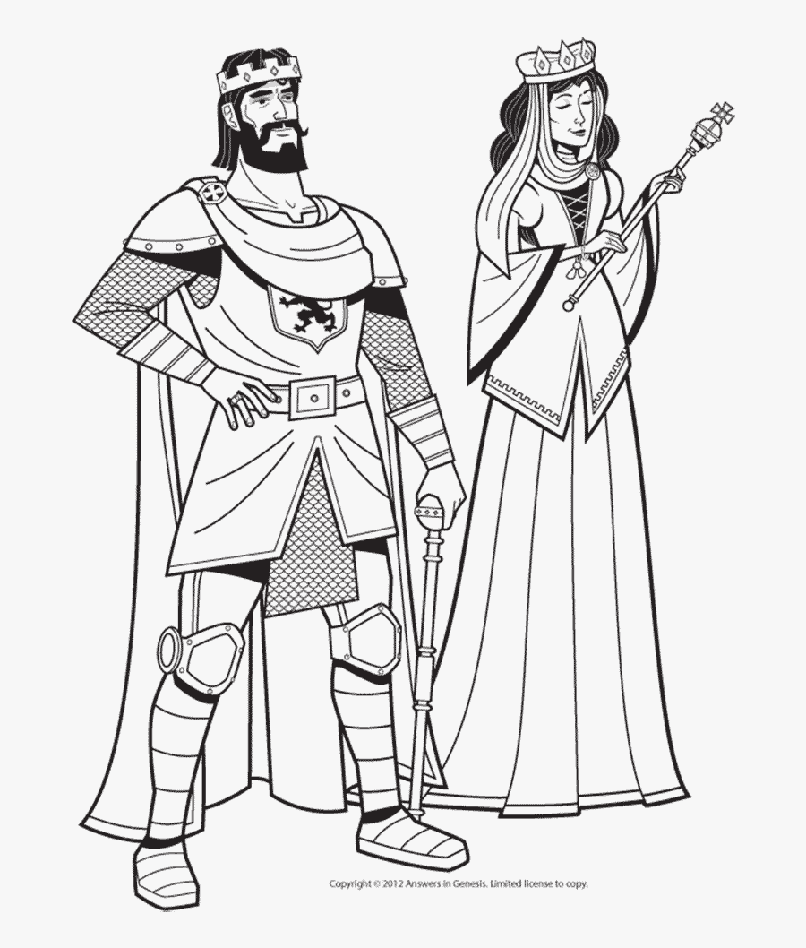 Medieval King And Queen In Black And White Coloring - King And Queen Sketch, Transparent Clipart