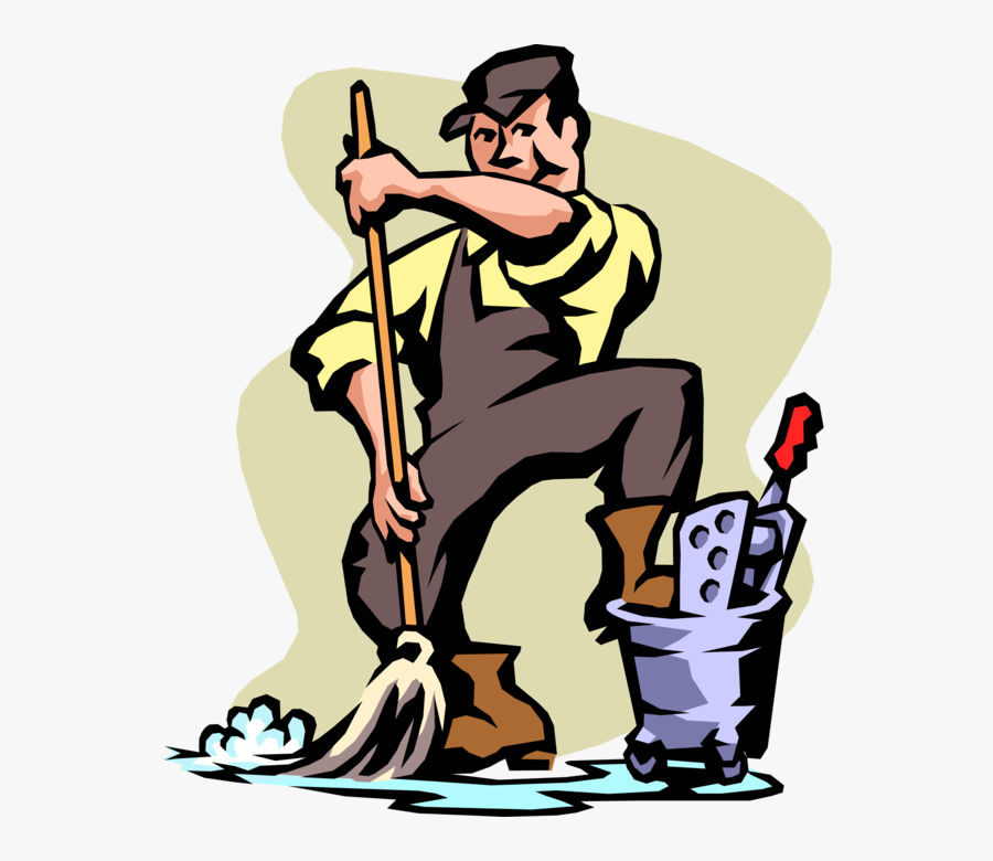 Vector Illustration Of School Janitor Custodian With - Concentrated Weak Base Example, Transparent Clipart
