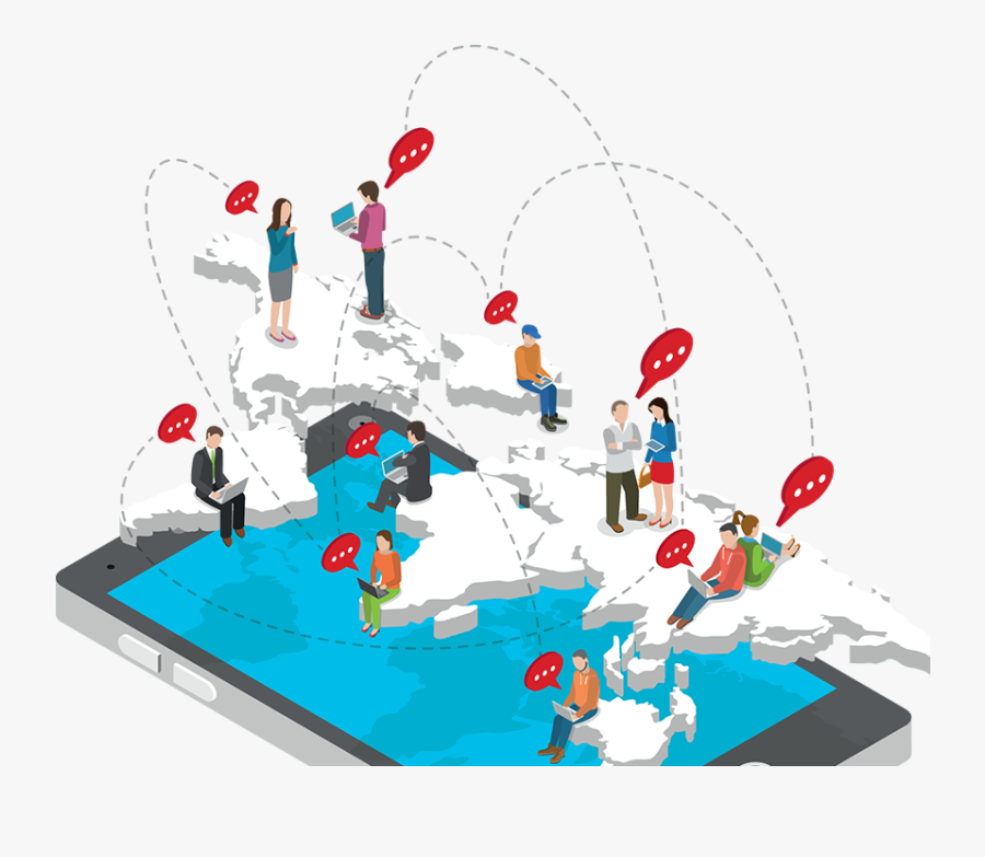 Illustration People On Map Communicating - Social Media Animated Icons Png, Transparent Clipart