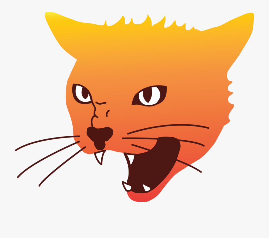 Clip Art Angry Cat Face - Angry Cat Vector Png, Transparent Clipart