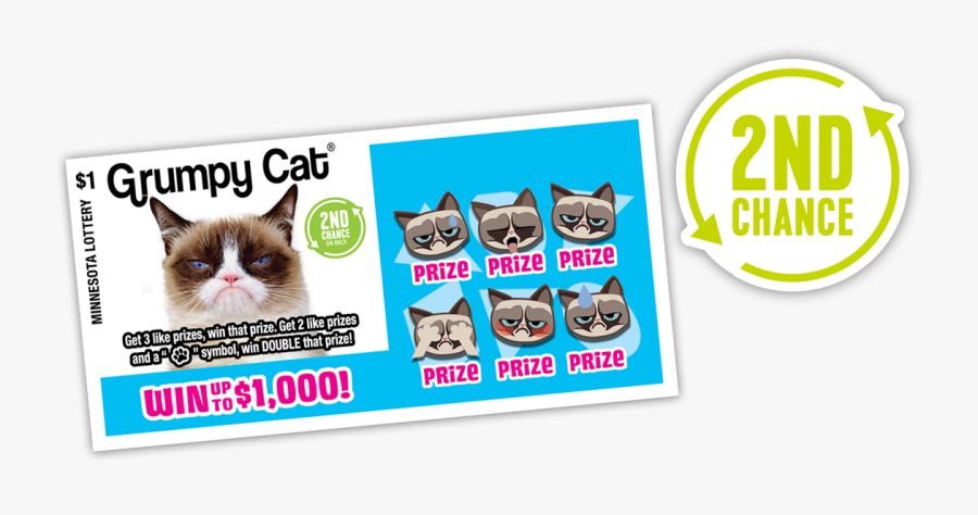 729 Grumpy Cat 2ndchance - Grumpy Cat Lottery Ticket, Transparent Clipart